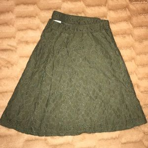Army Green Lacy Circle Skirt